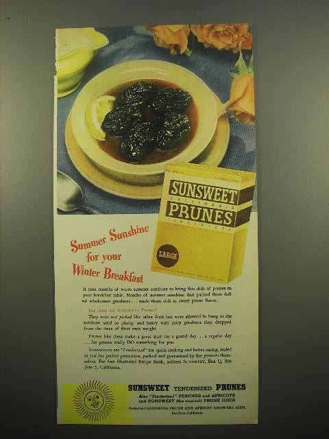 1947 Sunsweet Prunes Ad - For Your Winter Breakfast