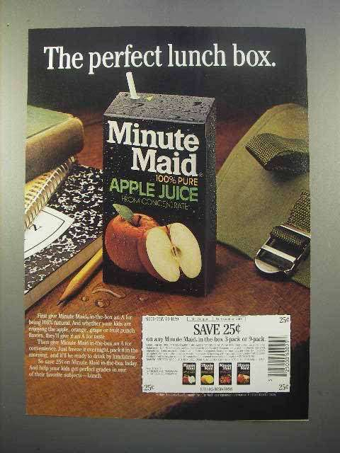 1986 Minute Maid Apple Juice Ad - Perfect Lunch Box