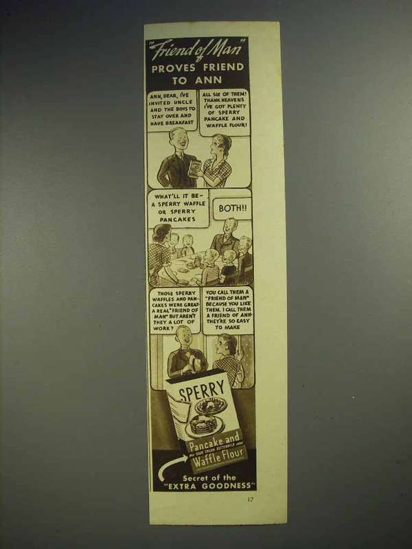 1936 Sperry Pancake and Waffle Flour Ad - Friend of Man