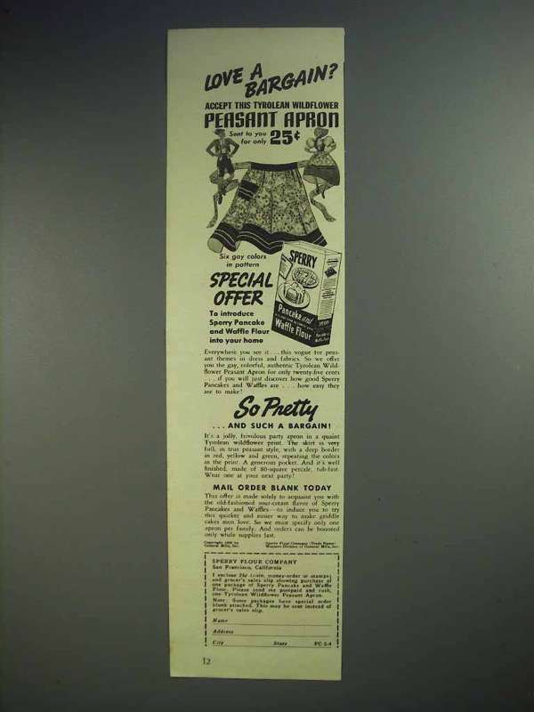 1938 Sperry Pancake and Waffle Flour Ad - Love a Bargain?