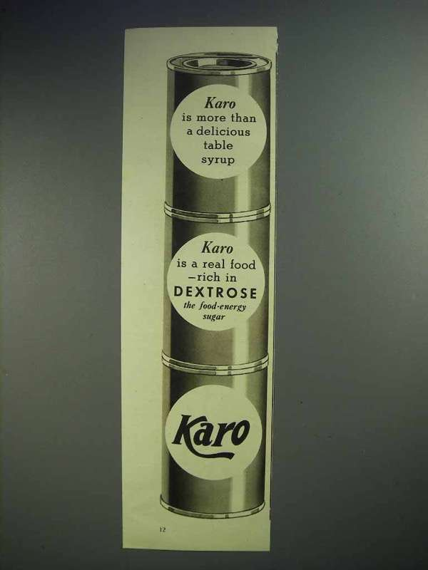 1939 Karo Syrup Ad - More Than Delicious Table Syrup