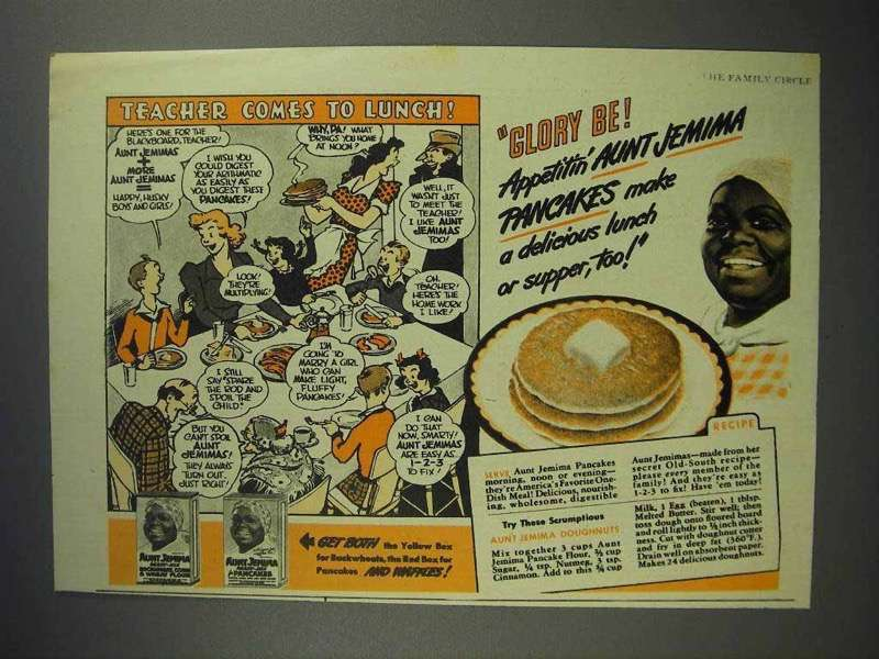 1943 Aunt Jemima Pancake Mix Ad - Teacher to Lunch