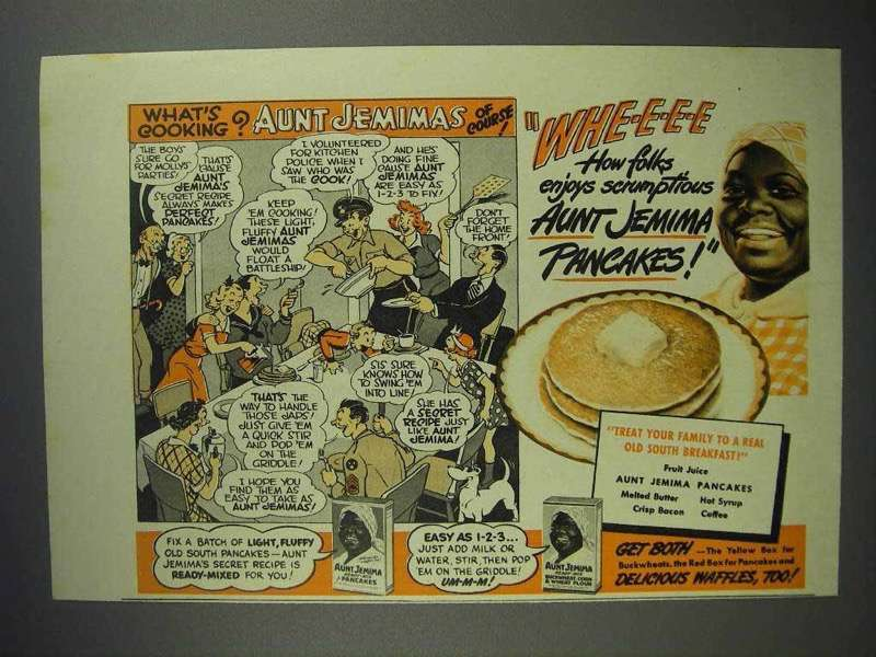 1942 Aunt Jemima Pancake Mix Ad - What's Cooking?