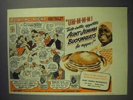 1943 Aunt Jemima Pancake Mix Ad - Bowling Night - $14.99