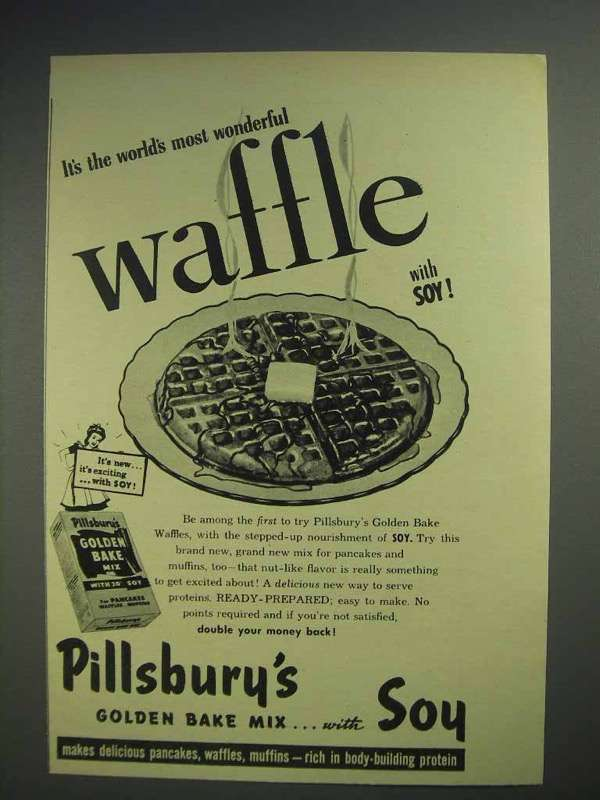 1944 Pillsbury Golden Bake Waffle Mix Ad - With Soy