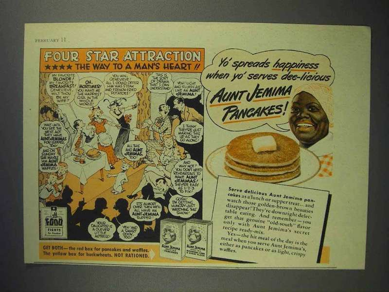 1944 Aunt Jemima Pancake Mix Ad - Four Star Attraction