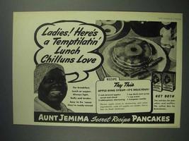 1945 Aunt Jemima Pancake Mix Ad - Lunch Chilluns Love - $14.99