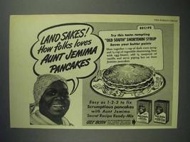 1945 Aunt Jemima Pancake Mix Ad - Land Sakes! - $14.99