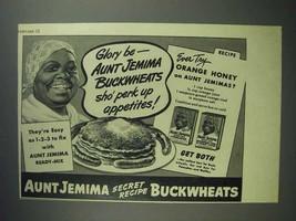 1945 Aunt Jemima Pancake Mix Ad, Sho' Perk Up Appetites - $14.99