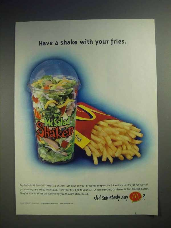 2000 McDonald's McSalad Shaker Ad - With Fries