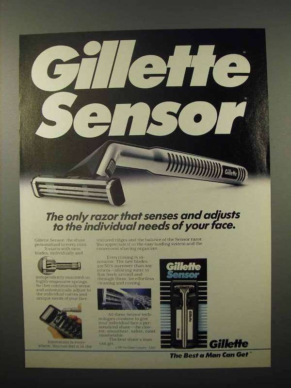 1991 Gillette Sensor Razor Ad - Senses and Adjusts