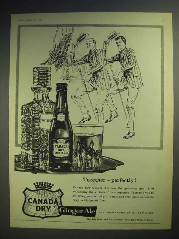 1959 Canada Dry Ginger Ale Soda Ad - Together Perfectly