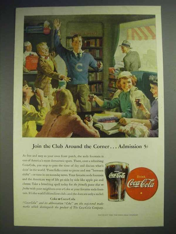 1946 Coca-Cola Soda Ad - Join the Club Around Corner
