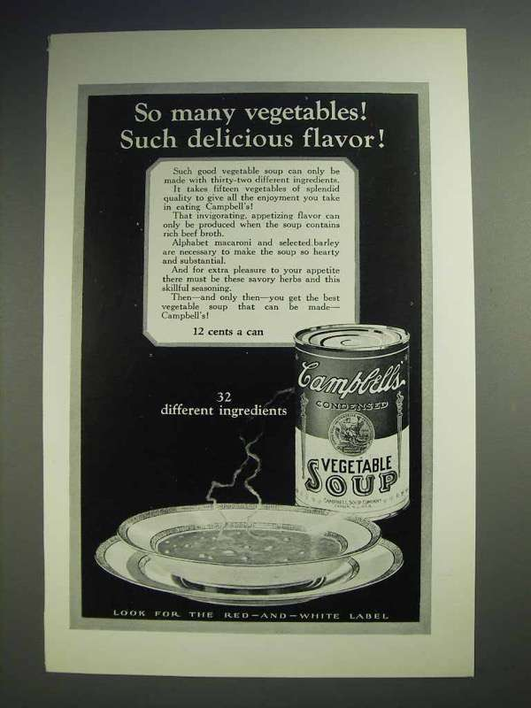 1926 Campbell's Vegetable Soup Ad - Delicious Flavor
