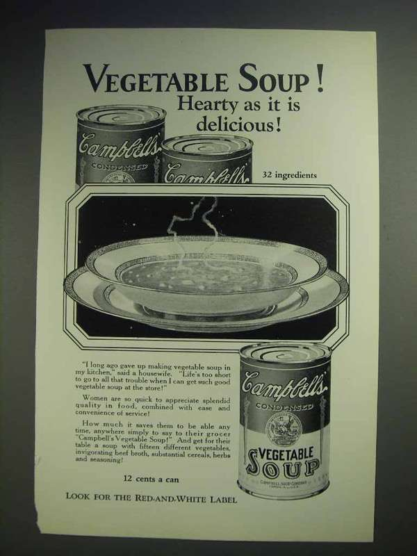 1926 Campbell's Vegetable Soup Ad - Hearty Delicious