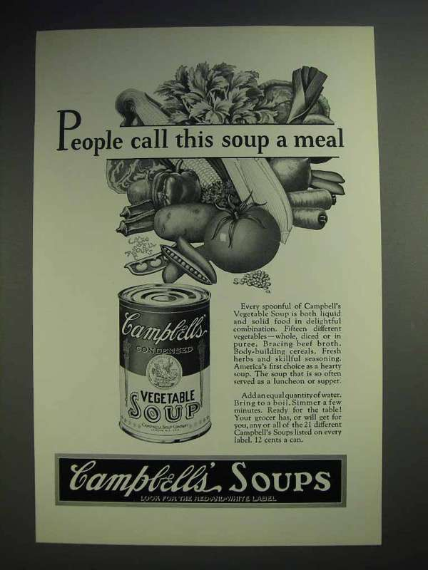 1928 Campbell's Vegetable Soup Ad - Call This A Meal