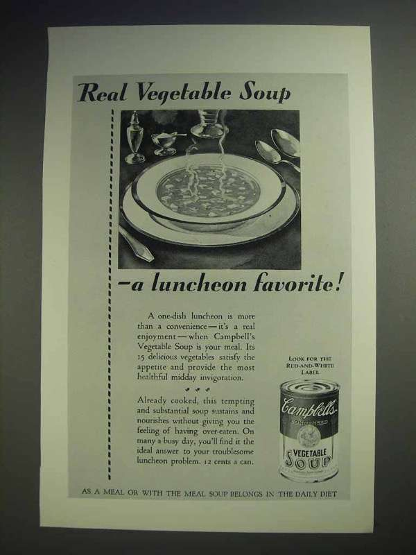 1929 Campbell's Vegetable Soup Ad - Luncheon Favorite