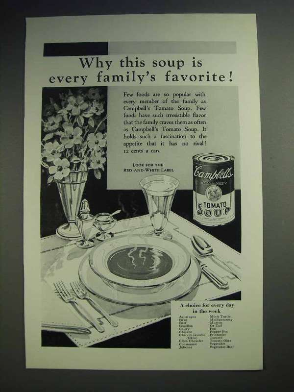 1929 Campbell's Tomato Soup Ad - Family's Favorite