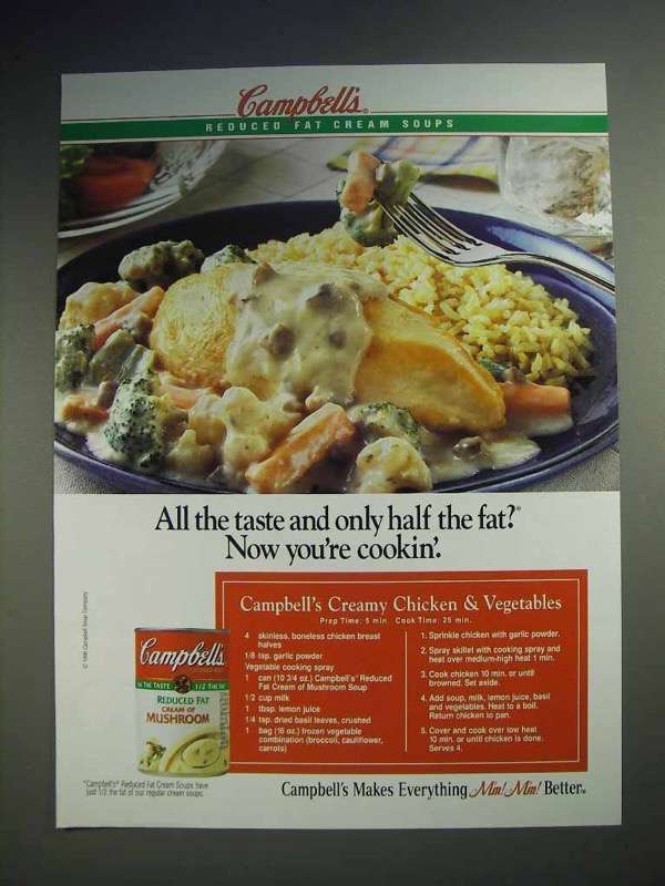 1996 Campbell's Reduced Fat Cream of Mushroom Soup Ad
