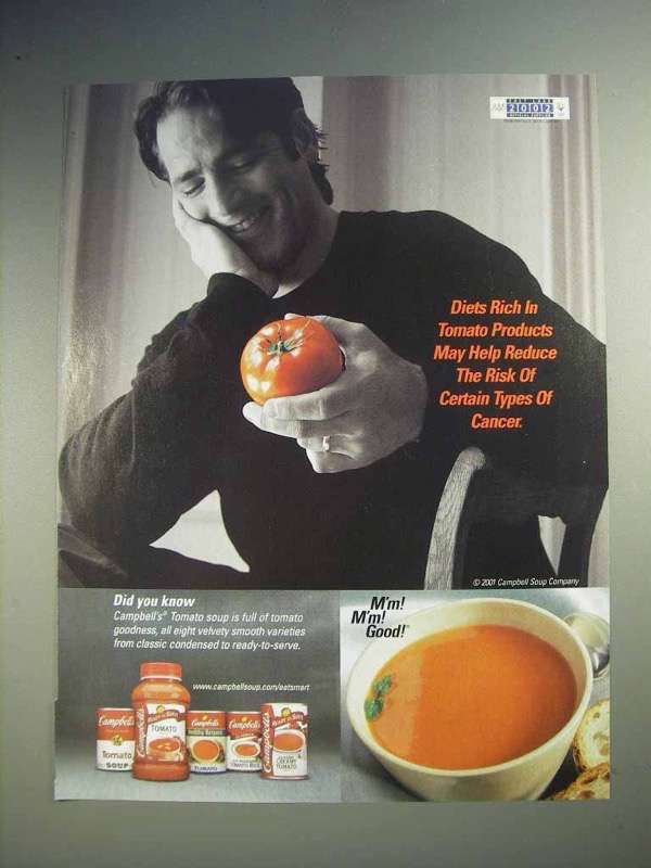 2001 Campbell's Tomato Soup Ad - Reduce Risk of Cancer