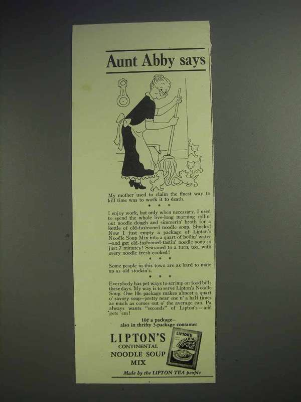 1942 Lipton's Continental Noodle Soup Mix Ad - Aunt Abby Says