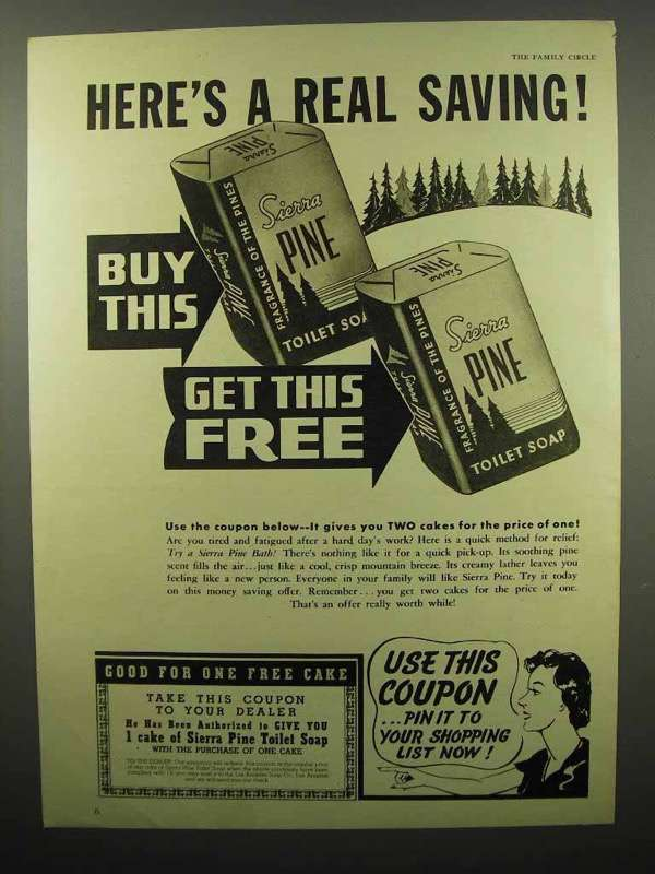 1939 Sierra Pine Soap Ad - Here's a Real Saving