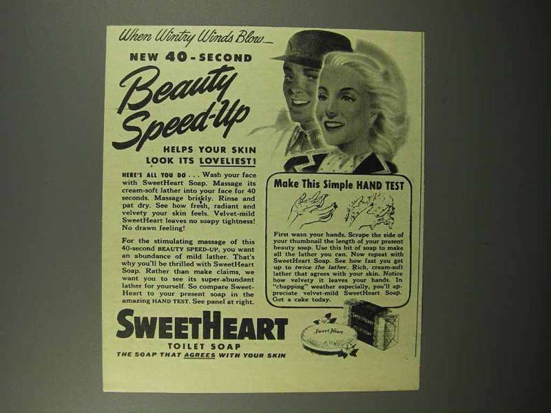 1944 SweetHeart Soap Ad - New 40-Second Beauty Speed-up