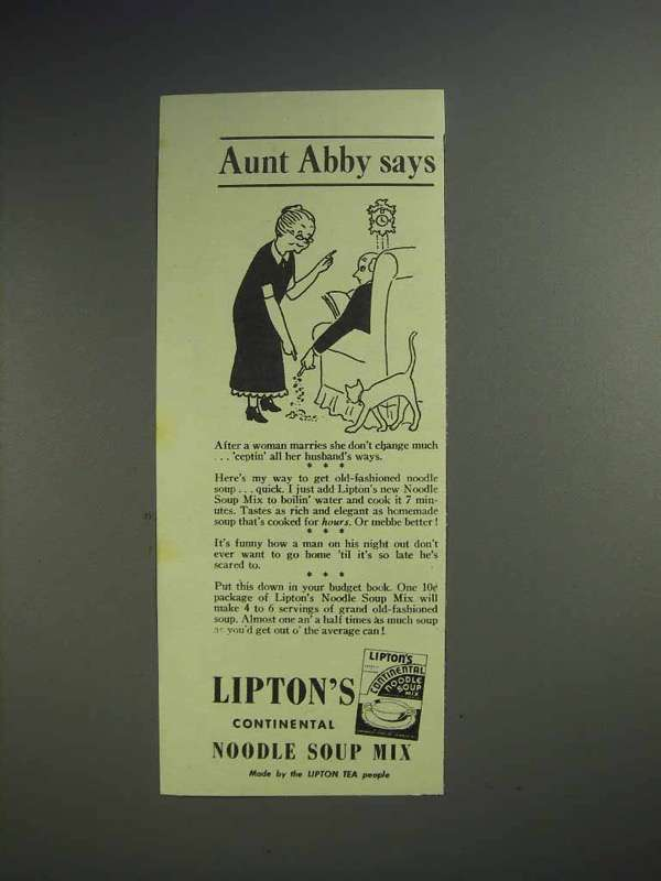 1942 Lipton's Continental Noodle Soup Mix Ad - Aunt Abby - After Woman Marries