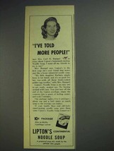 1943 Lipton's Continental Noodle Soup Ad - Told People - $14.99