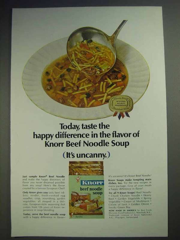1964 Knorr Beef Noodle Soup Ad - The Happy Difference