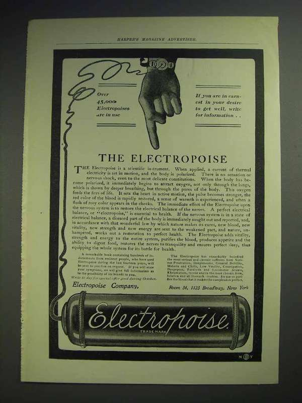 1902 Electropoise Medical Device Ad - 45,000 in Use