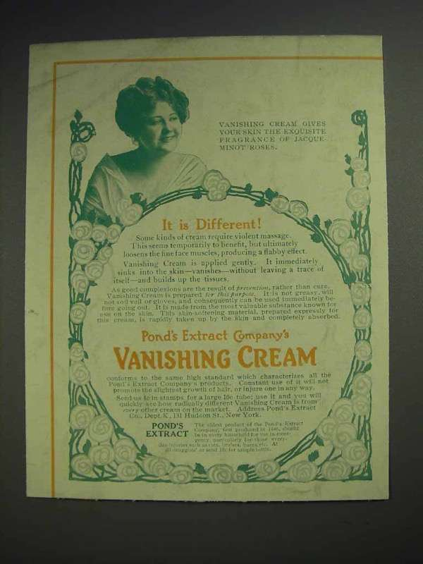 1912 Pond's Vanishing Cream Ad - It Is Different