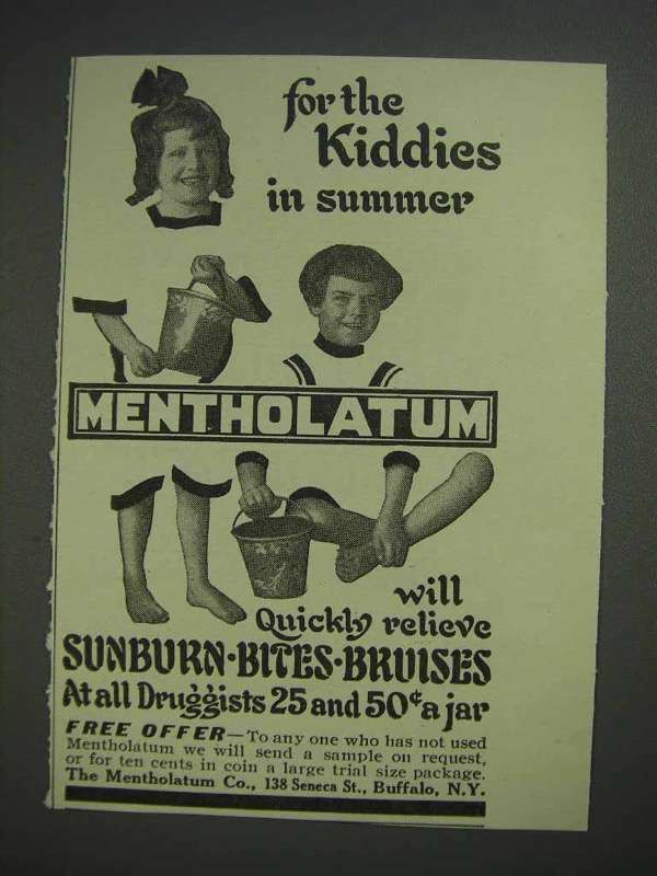1913 Mentholatum Ointment Ad - For Kiddies in Summer