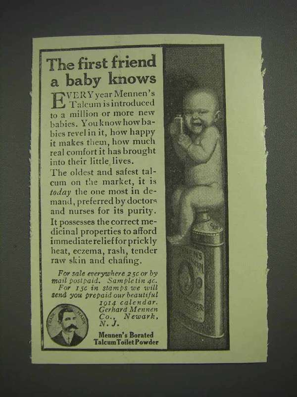 1913 Mennen's Borated Talcum Toilet Powder Ad - First Friend