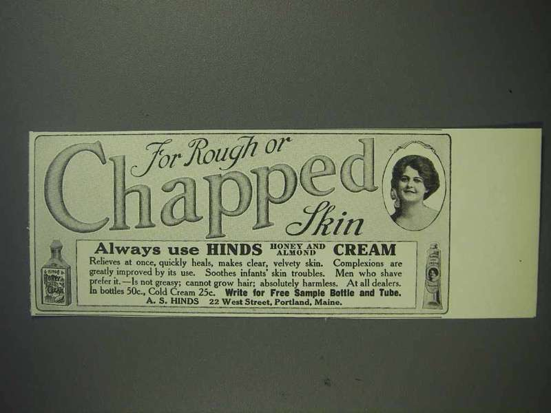 1913 Hinds Cream Ad - For Rough or Chapped Skin