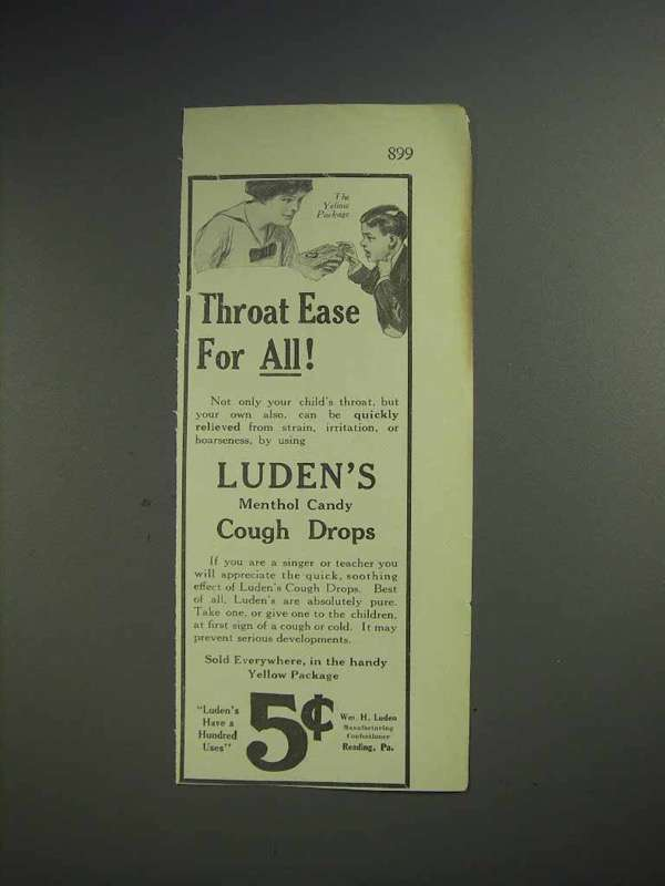 1913 Luden's Cough Drops Ad - Throat Ease for All
