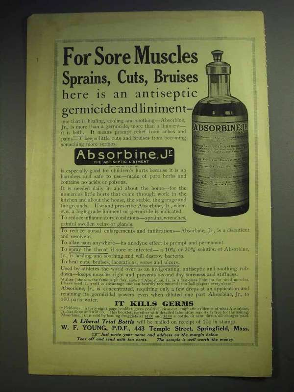 1914 Absorbine, Jr Liniment Ad - For Sore Muscles