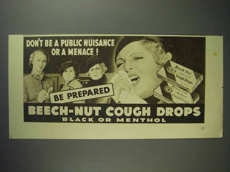 1937 Beech-Nut Cough Drops Ad - Don't Be a Menace