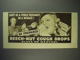 1937 Beech-Nut Cough Drops Ad - Don't Be a Menace - $14.99