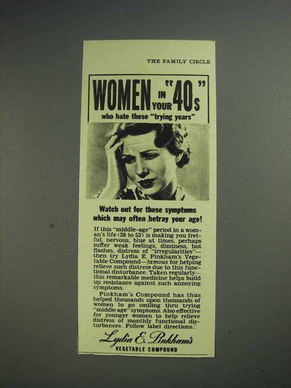 1942 Lydia E. Pinkham's Vegetable Compound Ad - Women