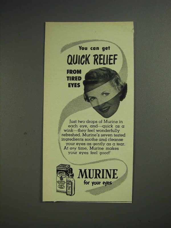 1952 Murine Eye Drops Ad - Quick Relief From Tired Eyes