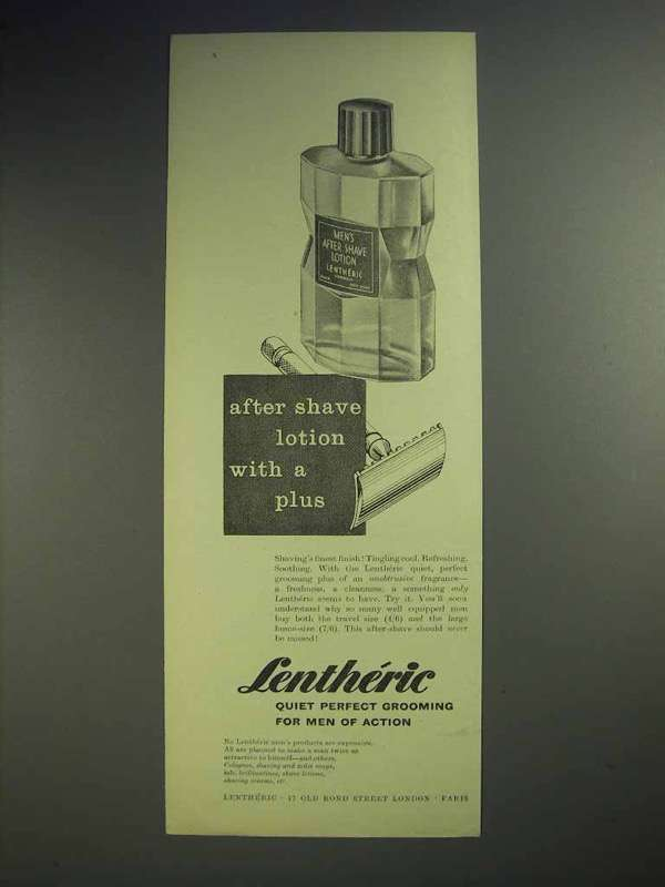 1958 Lentheric After Shave Lotion Ad - With A Plus