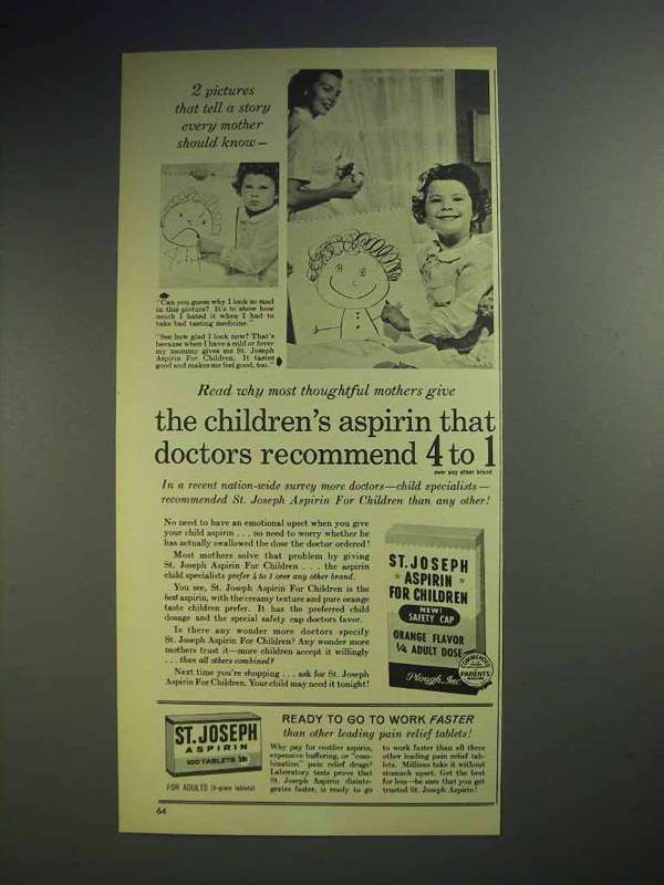 1960 St. Joseph Aspirin Ad - Doctors Recommend 4 to 1