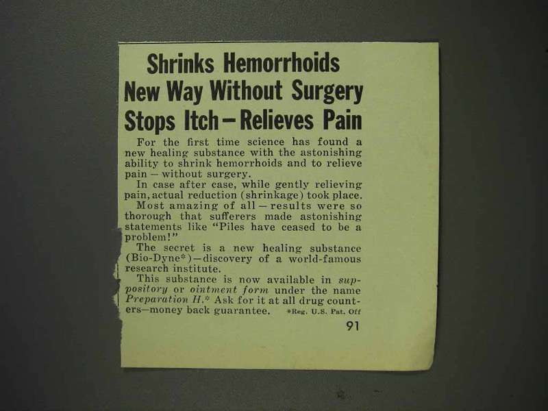1959 Preperation H Ointment Ad - Shrinks Hemorrhoids