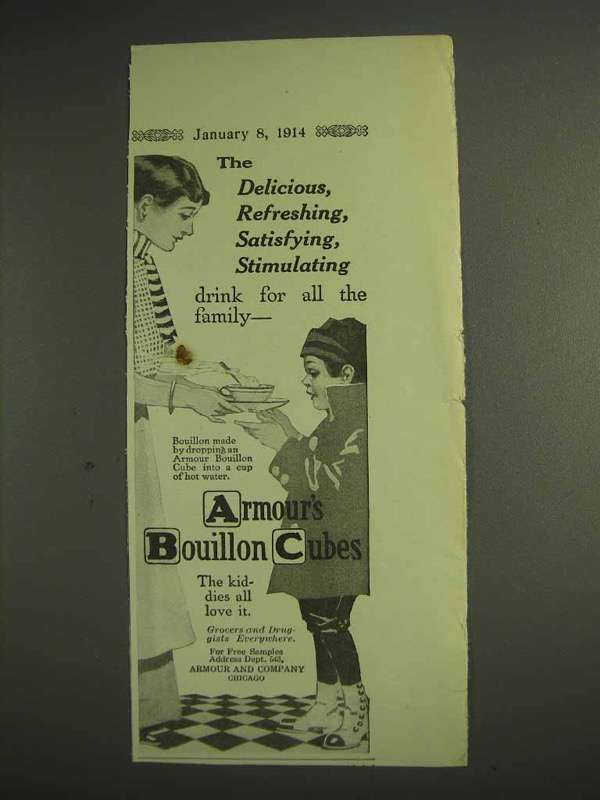 1914 Armour's Bouillon Cubes Ad - Delicious, Refreshing