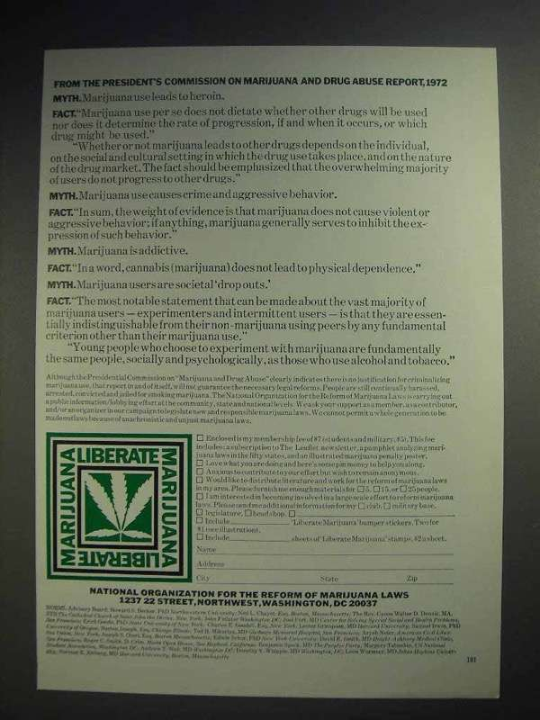 1973 National Organization Reform of Marijuana Laws Ad