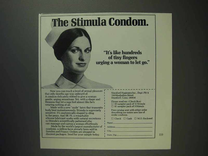 1975 Stimula Condom Ad - Urging Woman to Let Go