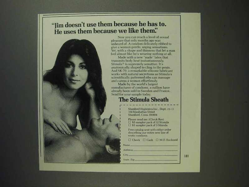 1975 Stimula Sheath Condom Ad - We Like Them!