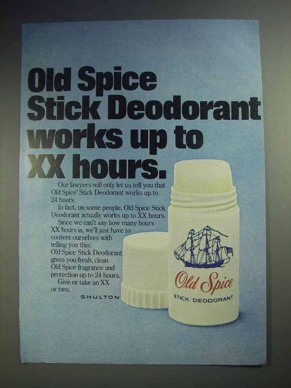 1977 Old Spice Deodorant Ad - Works Up To XX Hours