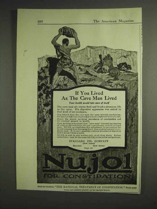 1917 Standard Oil Company Nujol for Constipation Ad